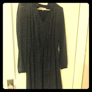 Navy long sleeve sheer dress— size 4